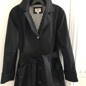 Jackets & Blazers - Black lightweight belted trench coat